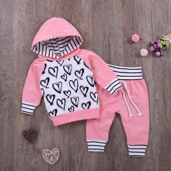 2-piece Heart and Stripes Print Hooded Top and Pants for Baby Girl