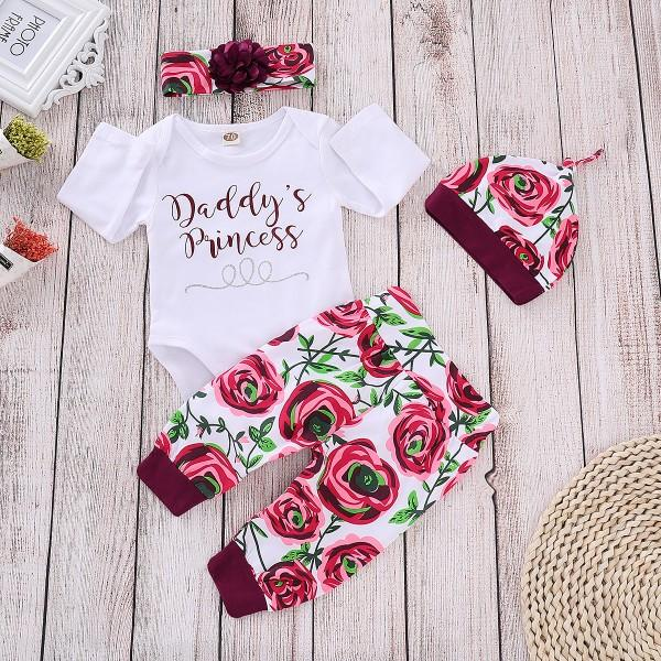 4-piece Letter Bodysuit Rose Print Pants Hat and Headband for Baby Girl