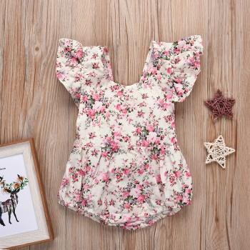 Pretty Floral Top Short-sleeve Bodysuit for Baby Girl