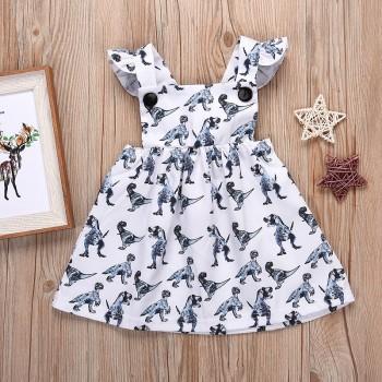 Pretty Dinosaur Print Ruffled Backless Dress for Baby Girl