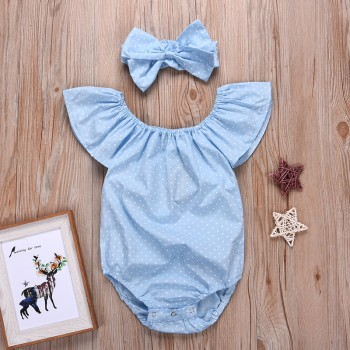 2-piece Polka Dotted Flare Sleeves Bodysuit and Headband for Baby Girl
