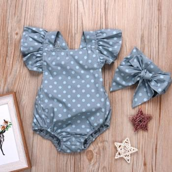 2-piece Polka Dotted Ruffled Sleeves Romper and Headband for Baby Girl