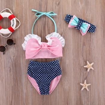 3-piece Ruffled Halter Bikini and Headband Set for Baby Girl and Girl