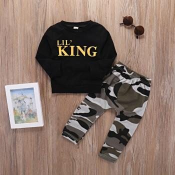 2-piece Cool LITTLE KING Top and Camouflage Pants Set for Baby Boy
