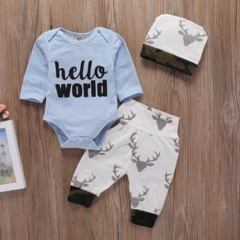 3-piece Hello World Bodysuit Deer Pattern Pants and Hat Set for Baby