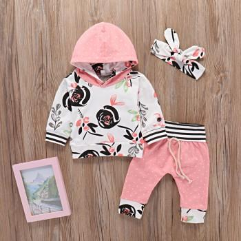 3-piece Floral Polka Dot Hoodie and Pants with Headband for Baby Girl