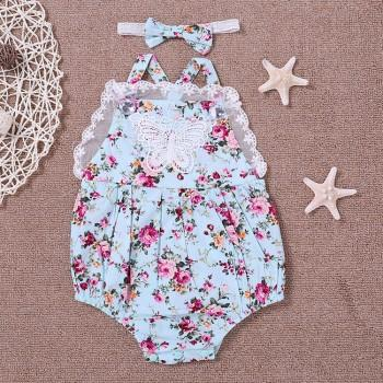Baby Girl's Lace Trimmed Floral Strap Bodysuit with Headband