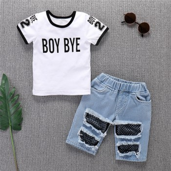 Trendy BOY BYE Print Short-sleeve T-shirt and Fishnet Frayed Denim Shorts Set for Baby and Toddler Boy