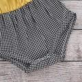 Lovely Lace Color-blocking Plaid Flounce-sleeve Bodysuit and Headband Set in Yellow for Baby Girl