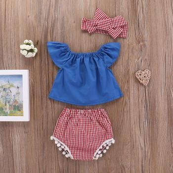 Sweet Solid Flutter-sleeve Top, Plaid Bottom and Headband Set for Baby Girls