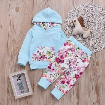 Baby Girl's Floral Hooded Long-sleeve Top and Pants Set