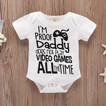 Fashion Game Machine Print Short Sleeve Bodysuit for Baby Boy