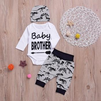 3-piece Baby Brother Bodysuit Dino Print Pants and Hat Set for Baby Boy