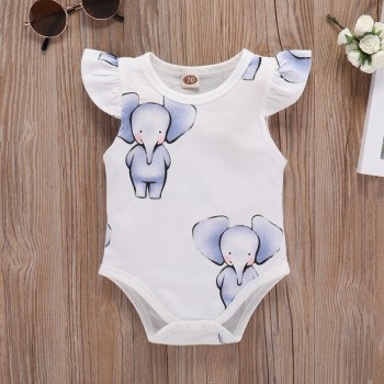 Adorable Elephant Print Flounce Sleeve Romper in White for Baby Girl