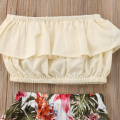2-piece Ruffled Tube Top and Floral Kirt Set for Toddler Girl