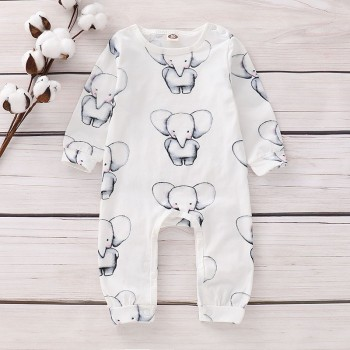 Cute Allover Elephant Long-sleeve Jumpsuit in White for Baby