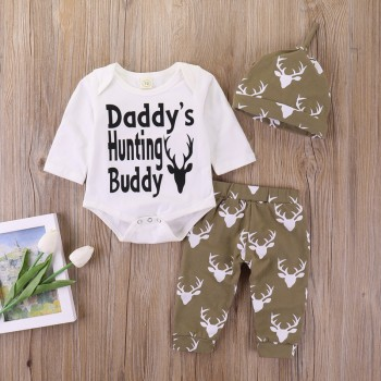 3-piece Daddy's Buddy Bodysuit Deer Print Pants and Hat Set for Baby Boy