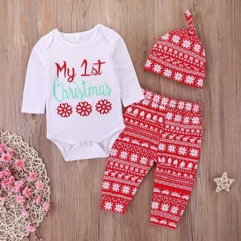 3-piece Ma 1st Christmas Snowflake Print Long-sleeve Set for Baby