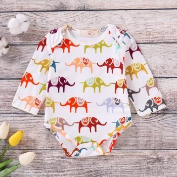 Stylish Elephant Allover Long-sleeve Bodysuit for Baby Boy