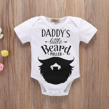 Daddy's Little Beard Puller Short-sleeve Baby Bodysuit