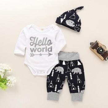 3-piece Trendy Letter Print Romper, Pants and Hat Set for Baby Boy