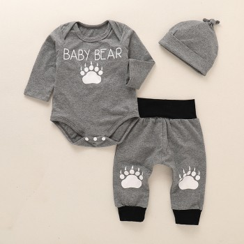 3-piece Cute Bear Paw Print Bodysuit, Pants and Hat Set for Bay Boy