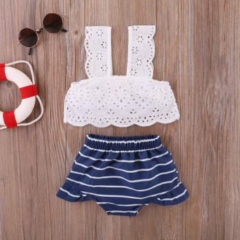 Trendy Hollow Out Strap Crop Top and Shorts Set for Baby Girl