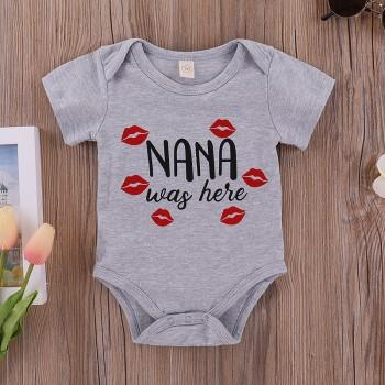 LOVE NANA Casual Red Lip Print Short-sleeve Bodysuit for Baby Boy
