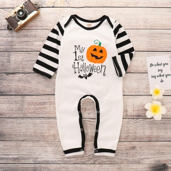 Stylish Halloween Graphic Print Striped Long-sleeve Jumpsuit in White for Baby