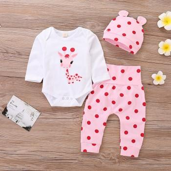 3-piece Cute Giraffe Print Romper, Polka Dot Pants and Hat Set for Baby Girl