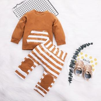 2-piece Striped Long-sleeve Top and Pants Set for Baby Boy