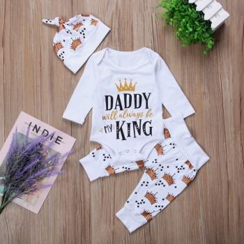 3-piece Fun Letter Print Romper, Crown Patterned Pants and Hat Set for Baby Girl