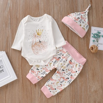 3-piece Stylish Swan and Crown Print Bodysuit, Pants and Hat Set