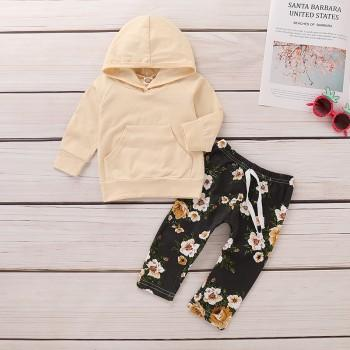 Pretty Solid Hooded Pullover and Floral Pants Set for Baby Girl