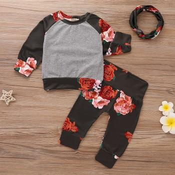 3-piece Pretty Floral Long-sleeve Pullover, Pants and Headband Set for Baby Girl
