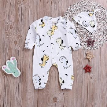 Lovely Dino Print Jumpsuit and Hat for Baby