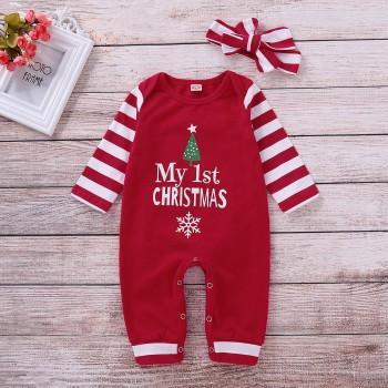 "Stylish ""My 1st Christmas"" Print Striped Jumpsuit and Headband"