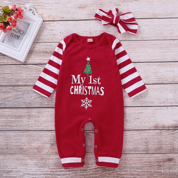 "Stylish ""My 1st Christmas"" Print Striped Jumpsuit and Headband"