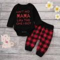 2-piece Trendy Letter Print Bodysuit and Plaid Pants Set