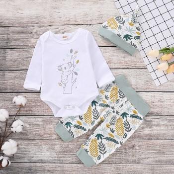 3-piece Koalas Print Bodysuit, Leaf Patterned Pants and Hat Set for Baby