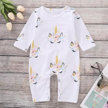 Pretty Unicorn Print Long-sleeve Jumpsuit for Baby
