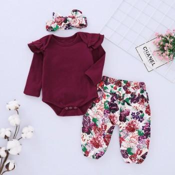 Trendy Solid Long-sleeve Romper, Floral Pants and Headband Set