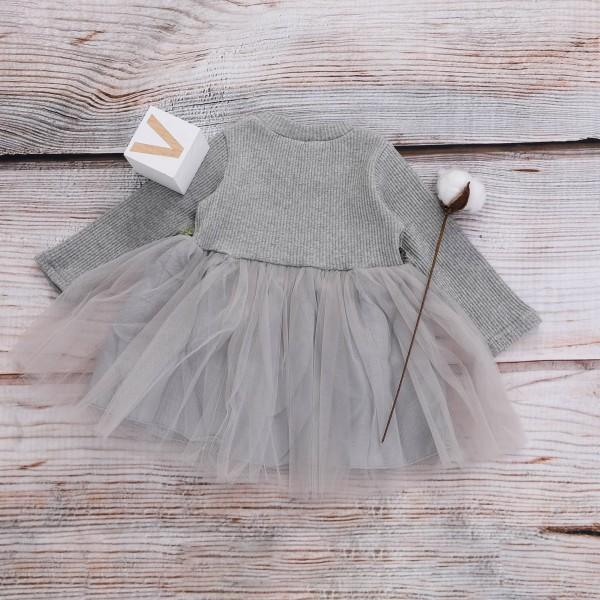 Sweet Flower Long Sleeve Mesh Dress for Baby Girls