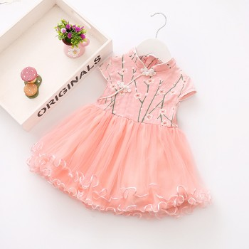 Elegant Flower Print Cap-sleeve Cheongsam Tulle Princess Dress for Baby Girl