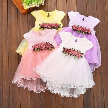 Baby Girl's Charming Flower Decor Tulle Party Dress