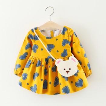 Lovely Heart Pattern Long-sleeve Dress with Bear Bag