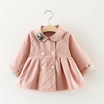 Sweet Embroidered Pleated Double-breasted Coat for Baby Girl
