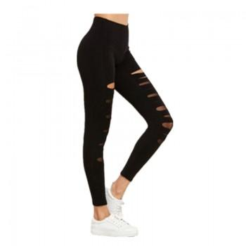 Stylish Ripped Solid Legging in Black for Women