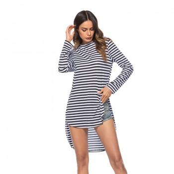 Casual Stripes Long Sleeves High Low Tunic for Women