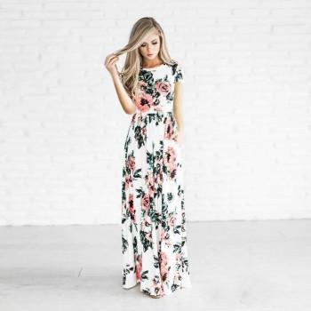 Stunning Floral Short-sleeve Maxi Dress